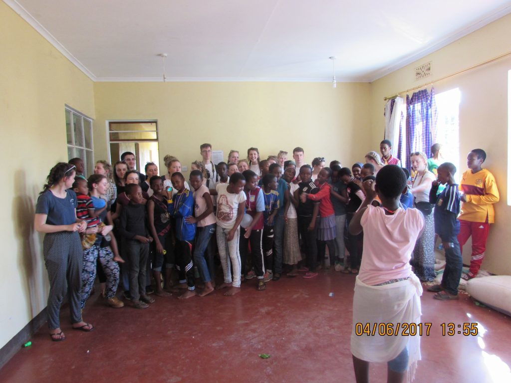 Group singing with the children from the Kimashuku orphanage.