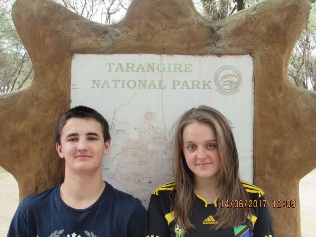 Meagan and Ben photographed at the Tarangire National Park.