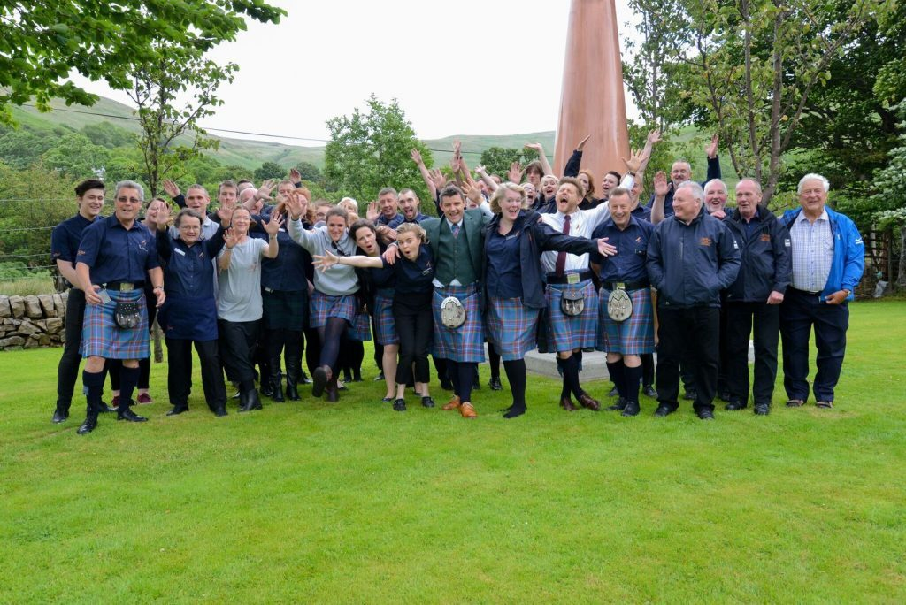 The gang's all here. The distillery staff celebrate another successful festival. NO_B28_malt_12