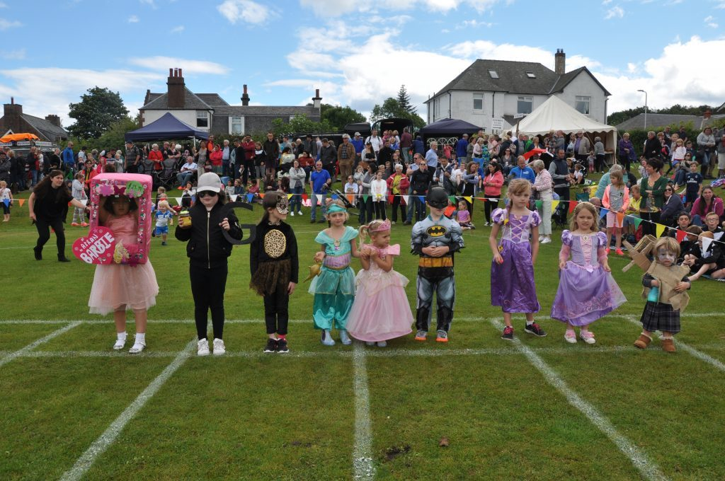 The entrants in the fancy dress competition.