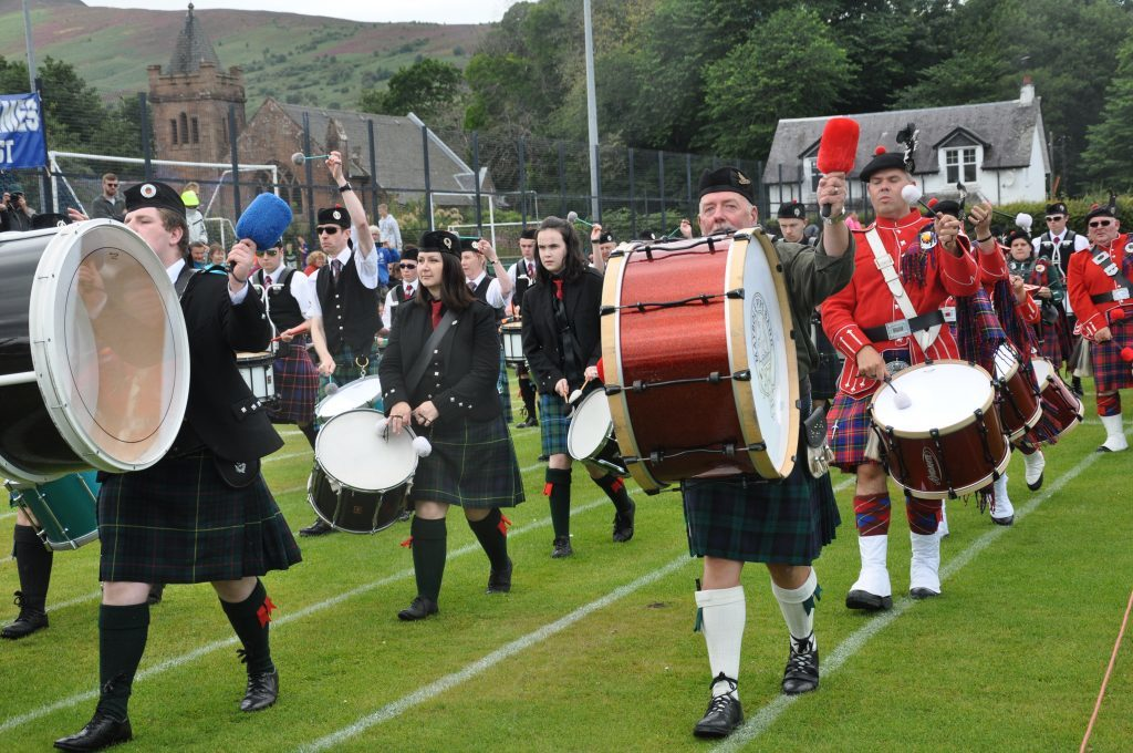 Derek Shand plays the Maybole Pipe Band big drum.