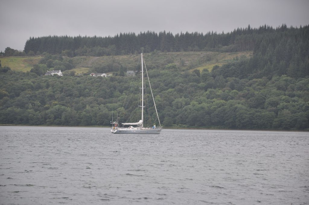 Sailing vessel Sea dragon is moored in Lamlash bay during the eXXpedition visit.