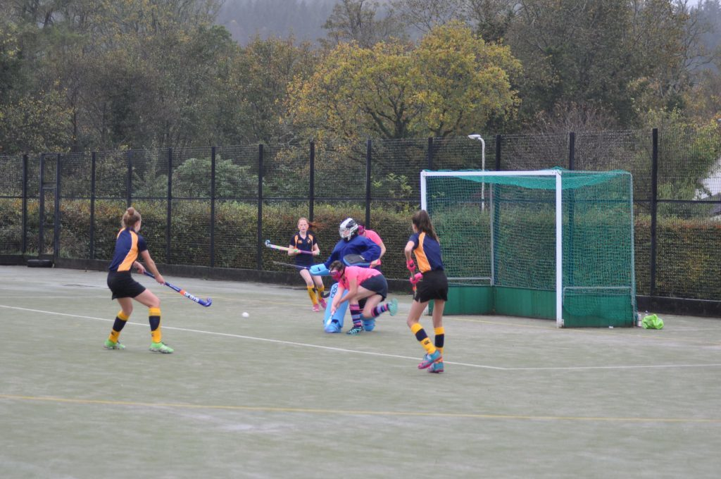Goalkeeper Ali McKie and team mate defend against another relentless attack from Hillhead