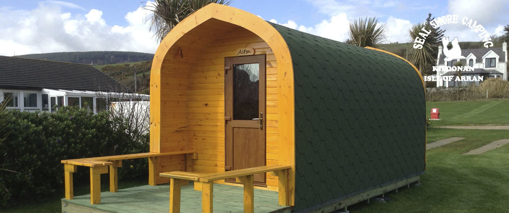 An innovative camping pod is available to hire at Seal Shore Campsite.