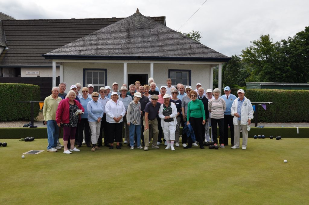 July - Arran Bowlers took the honours in a friendly international match against 17 visiting members from various bowling clubs in Florida. Pictured are all of the players from the event
