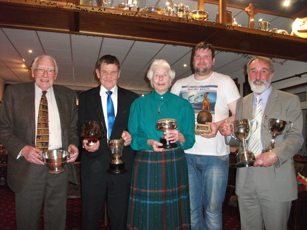 December - Trophy winners receive their awards at the Brodick Bowling Club's annual presentation of awards and dinner