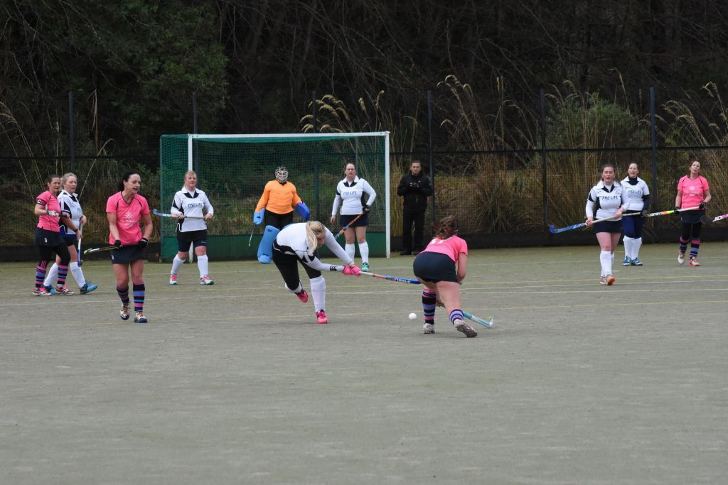 A Ferguslie player overreaches to try and prevent an Arran attempt at goal