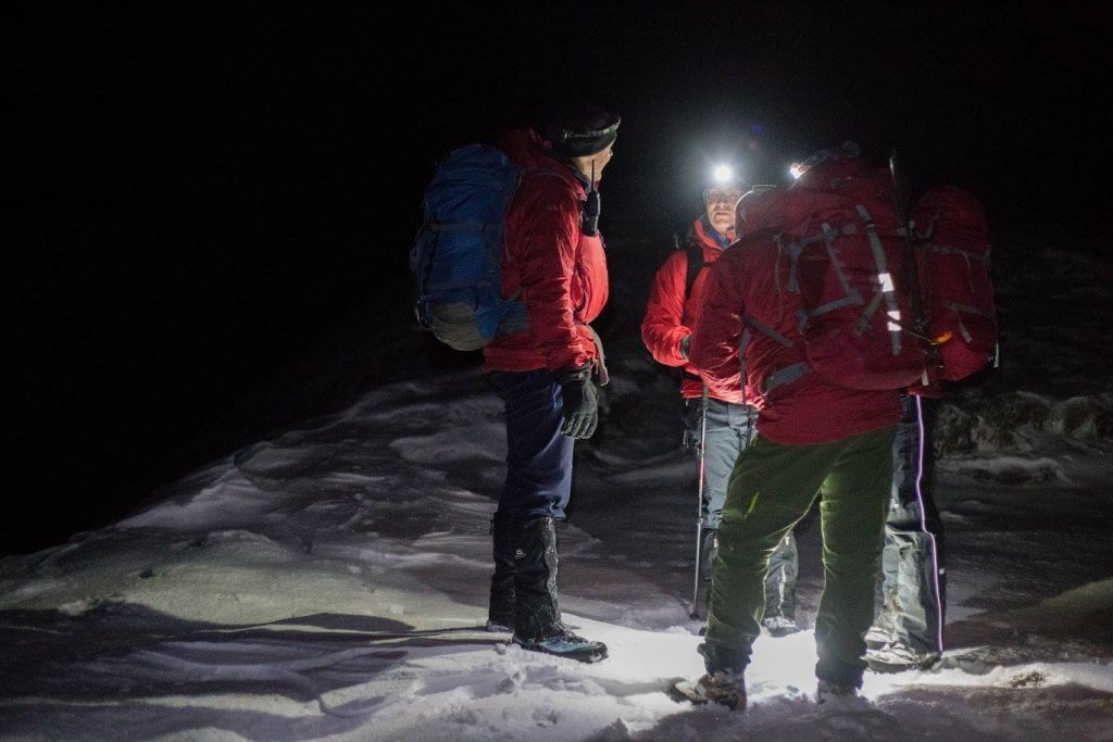Group members discuss their strategy in freezing conditions