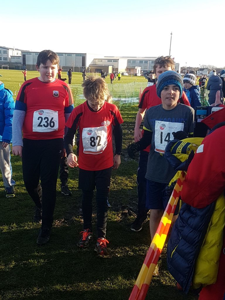 Connah Wright, Ruaridh Lindsay-Smith and Archie Gunyadi prepare for their race