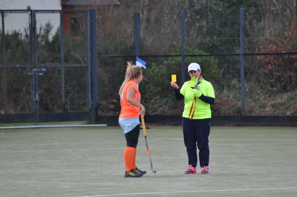 Arran umpire Pauline Reid cautions a MCCW player after a deliberate foul