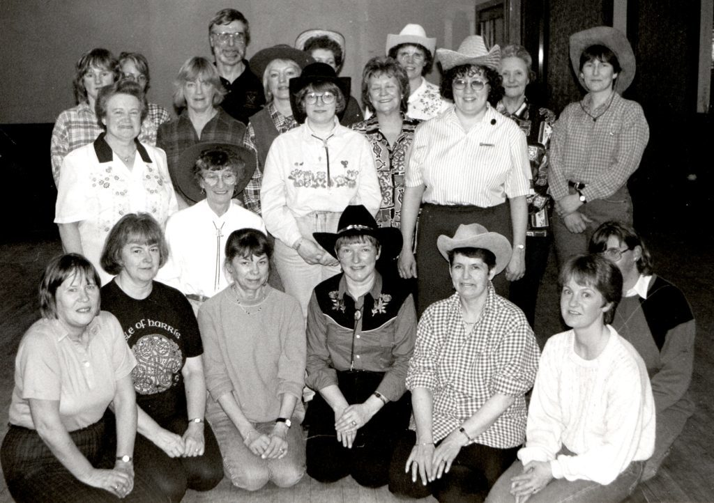 Line dancing instructor Diane McMullen is joined by her dancers at the Kinloch Hotel where weekly line dancing classes are being held. A popular and fun activity, the number of people attending these classes and the ones in Brodick Hall is rapidly increasing