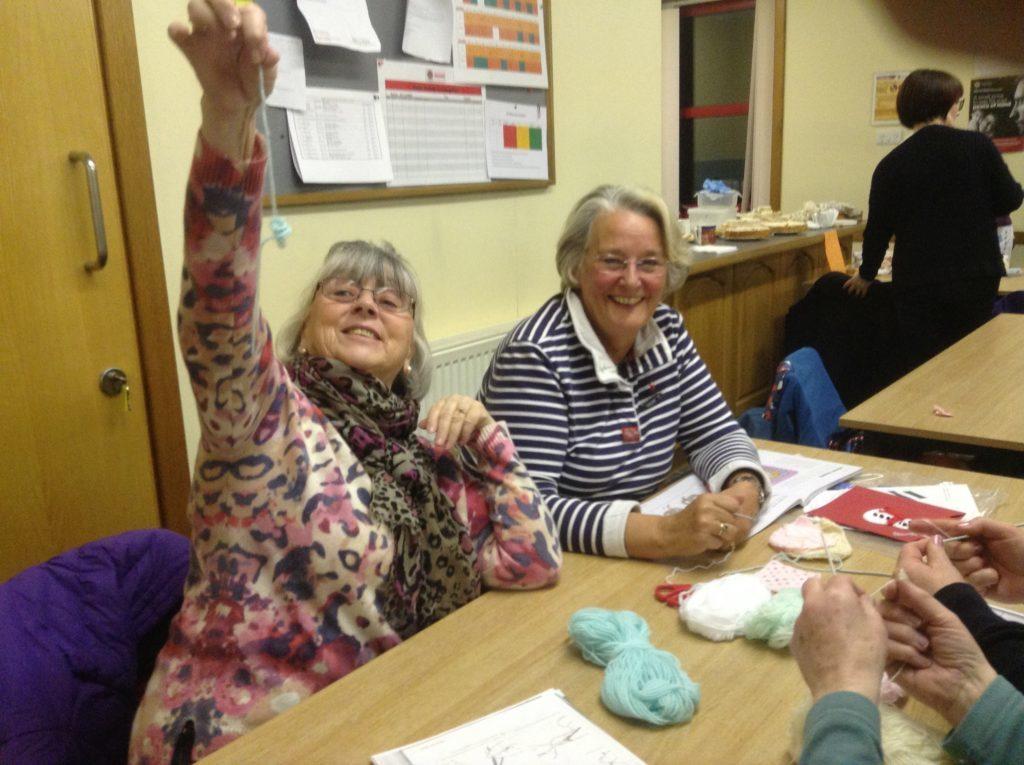June Milne and Kathleen Sowden enjoy the crochet corner.