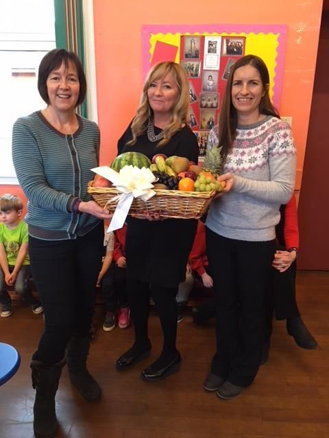 Carol Brown, Fiona Black and Kirsty Popplewell receive their prize. Not pictured, Quinton Black and Margo Popplewell