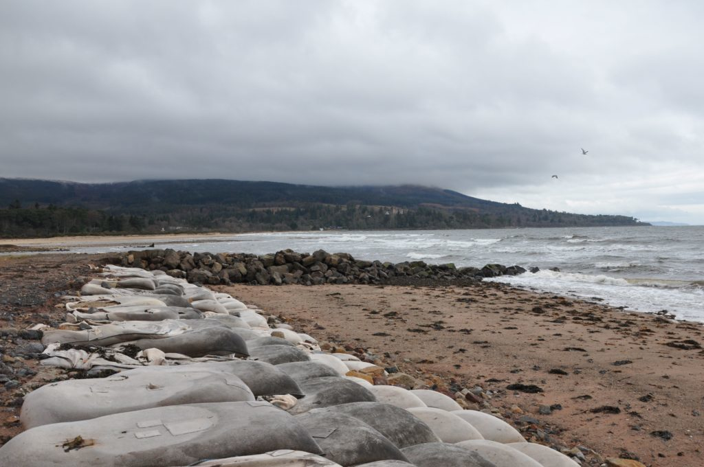 The rock groynes have proven effective in stopping some of the sand from migrating on Brodick beach
