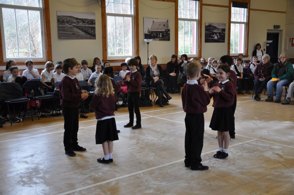 Whiting Bay Primary P1 to P3 pupils take part in the Scottish country dancing