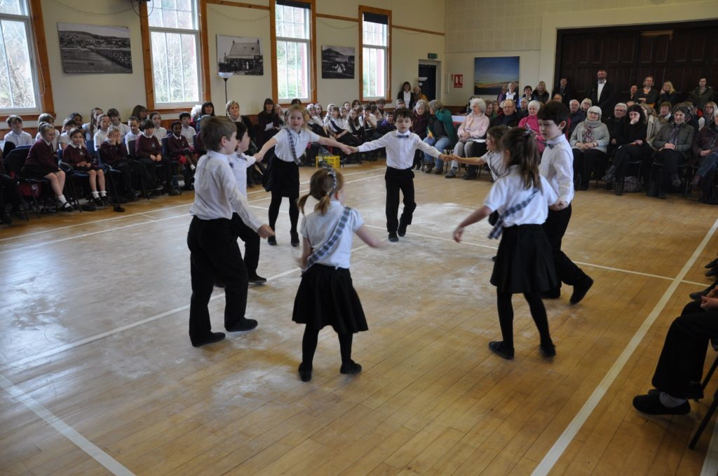 Shiskine Primary pupils in formation during their Scottish country dancing