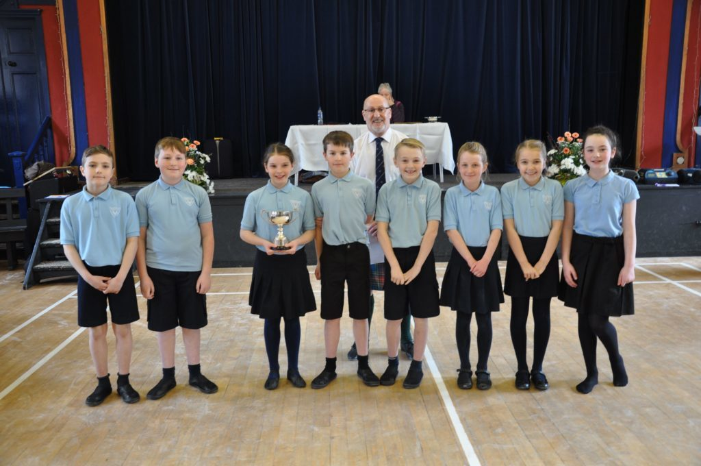 Brodick Primary pupils were the proud recipients of the Jean Marriott Trophy in the Scottish country dancing category