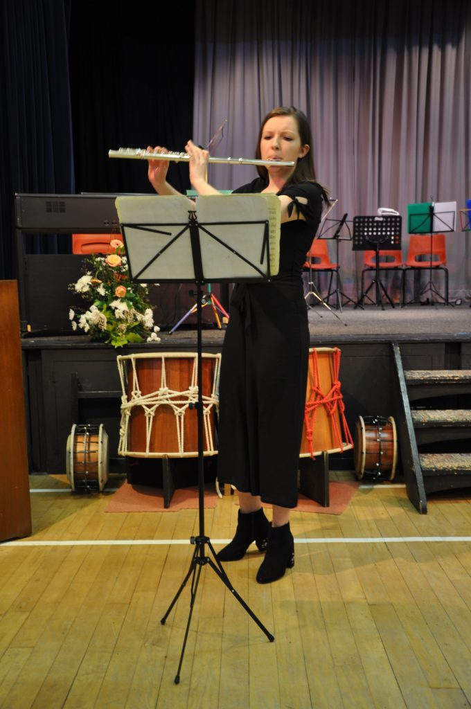 Lucy Walsh impressed the audience with a technically challenging performance including a flute concerto by Bach