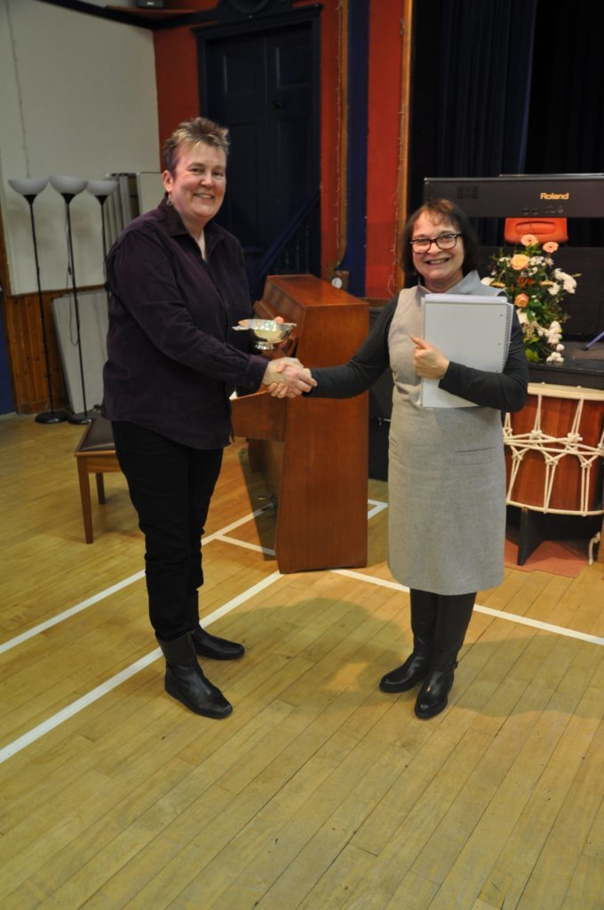 Samantha Payn, who performed in various categories, receives the Festival Salver from Heather Gough for her verse speaking