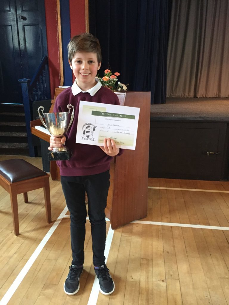P7 Whiting Bay pupil Jesse Townsend won the Professor Alan Gemmel Cup in the piano solo elementary category