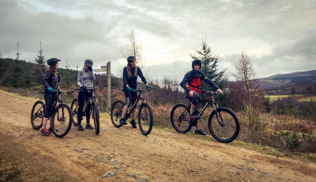 Mountain bikers on the trail on which they will undertake maintenance and repairs next month