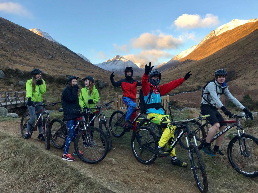 Club members enjoying the trail in Glen Rosa