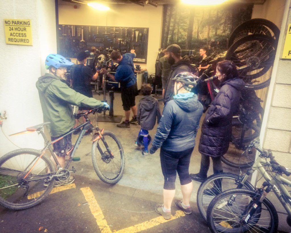 Pupils fix customers bicycles at no charge during one of their open day workshops