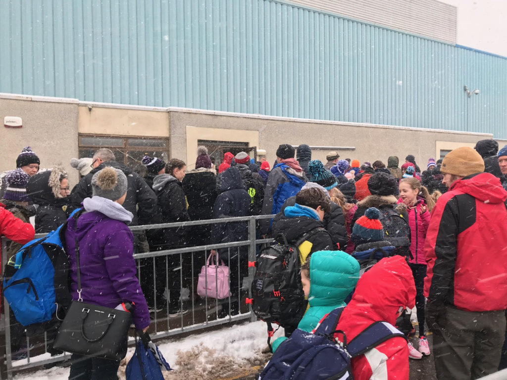 Parents and competitors endure the wintry weather to compete at the first event of the season