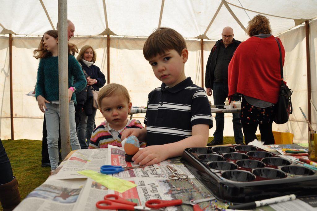 Calum and Abbie McGregor of Uddingston concentrate on decorating their egg