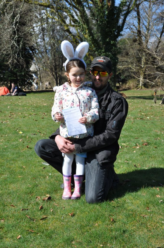 Hayley, aged 4, dressed for the occasion with dad Oliver Glister
