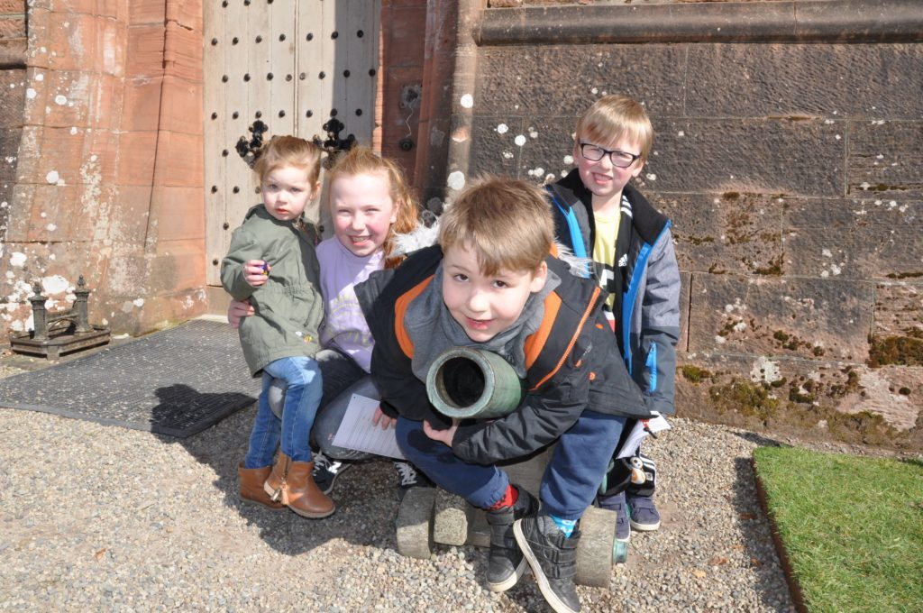 Having a blast at the castle are Ava and Cameron Russell and Erin and Brodie Sutherland from Wirral