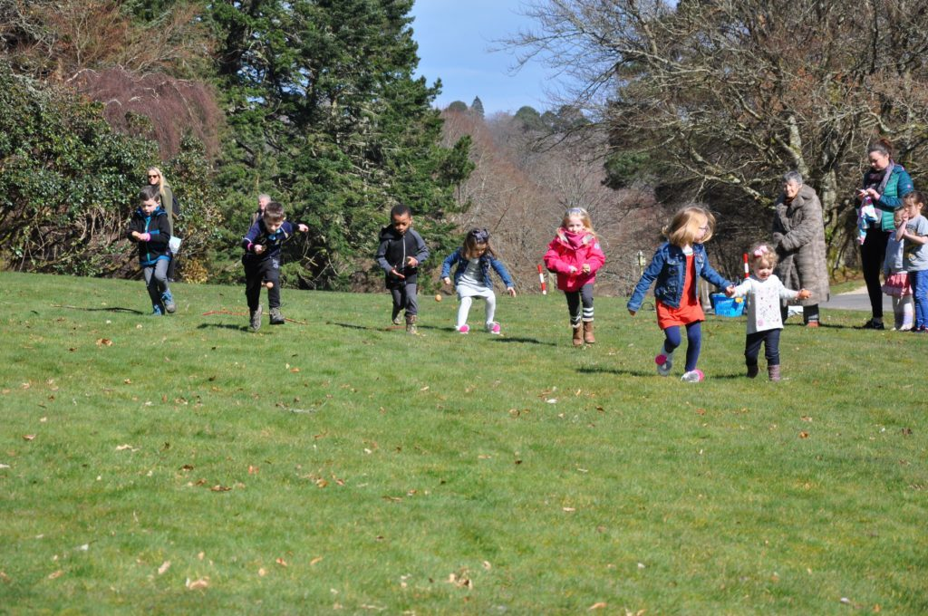 And they are off, children take part in the egg and spoon races