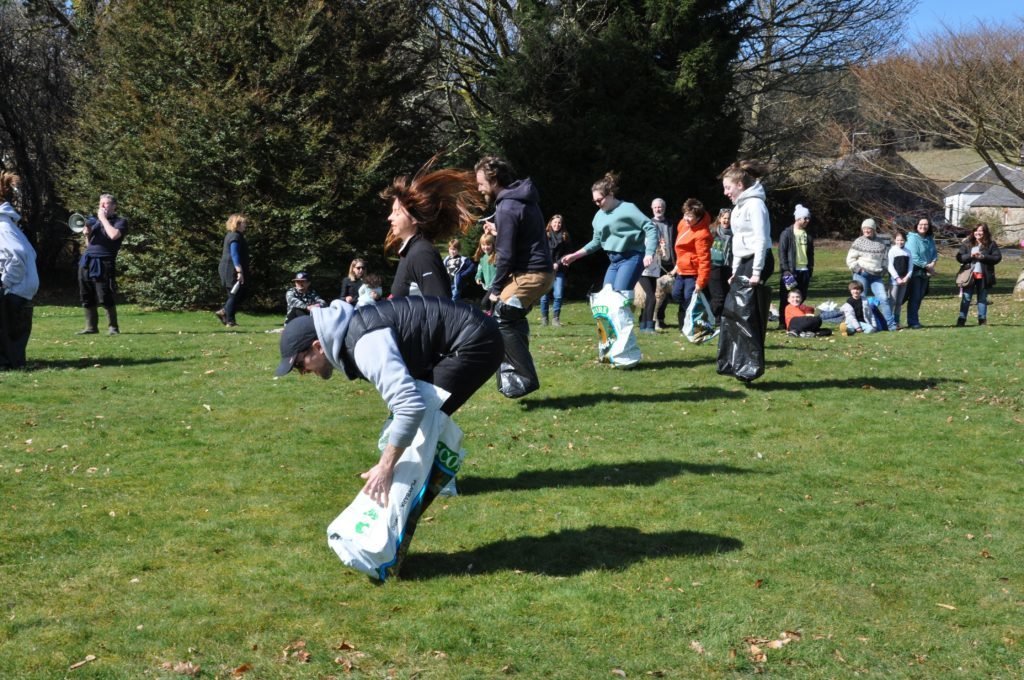 Parents fare slightly better than the young children in the sack race