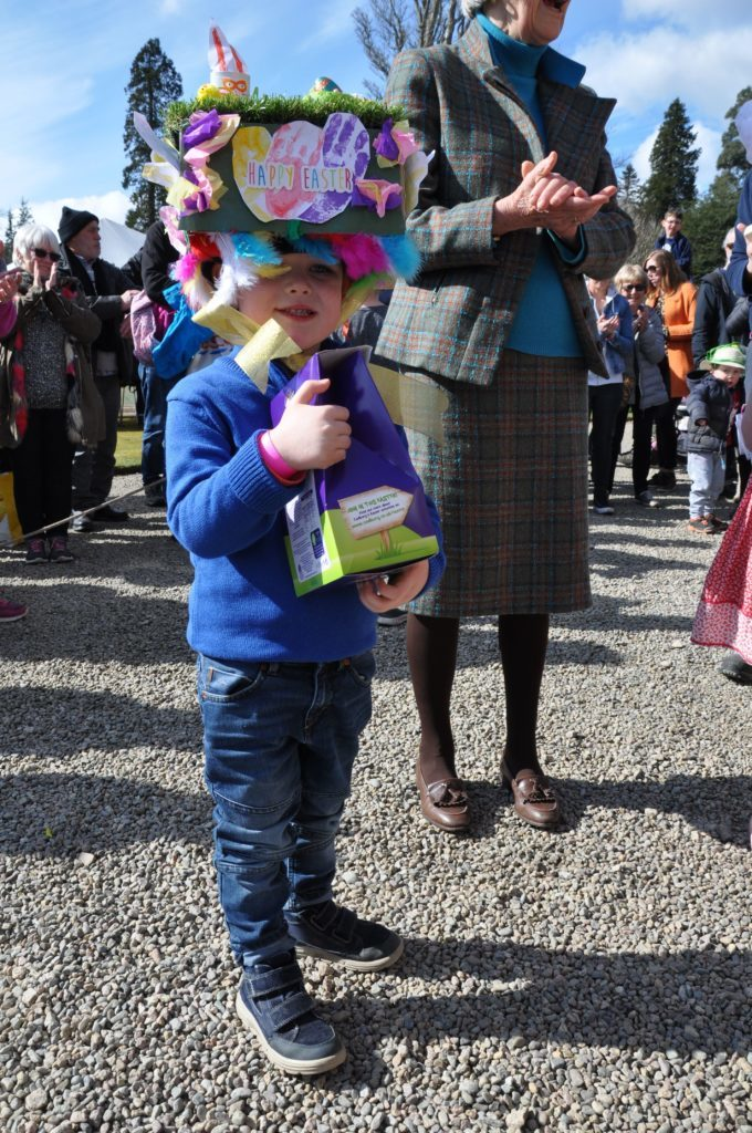 Luca Duncan took first place in the under 7s Easter bonnet competition