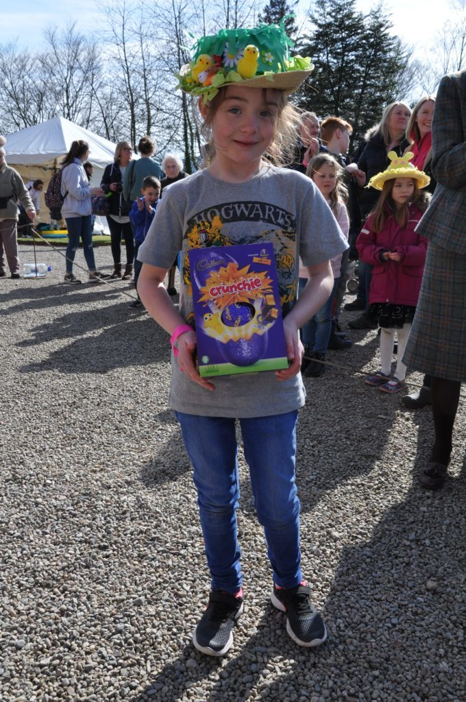 Molly Pettigrew was delighted to win the Easter bonnet competition for 7 to 12 year olds