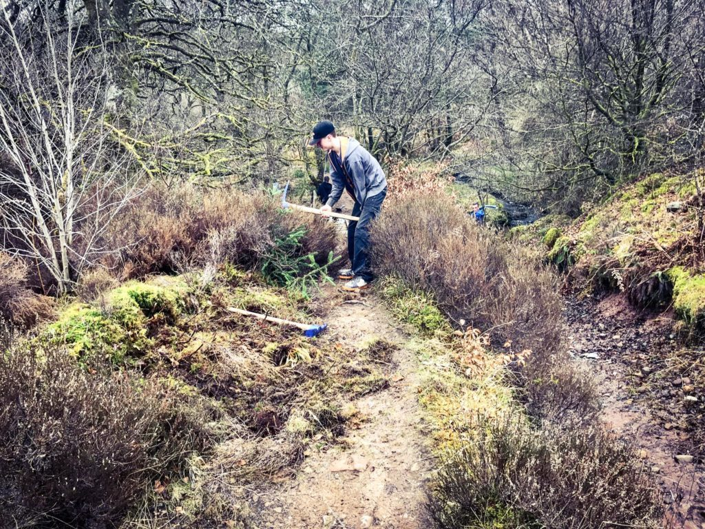 Bracken and thick bushes which had concealed parts of the pathw had to be tackled with pickaxes