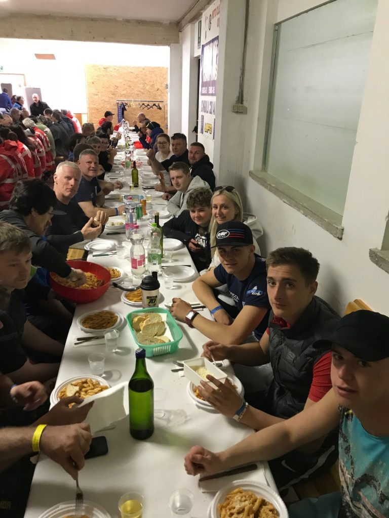 Attendees at the meeting were treated to a Sunday lunch under the grandstand by the Motorcycle Club of Cingoli.