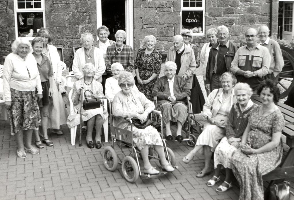East meets west. The two Arran groups of Contact The Elderly, organised by Moira Brown and Jean Peacock, had a get-together last Sunday at Balmichael Visitor Centre.