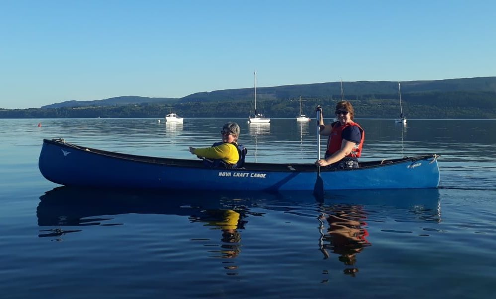 Lesley Elliott and Beth Mowatt set out in a canoe to welcome the final relay team back home.
