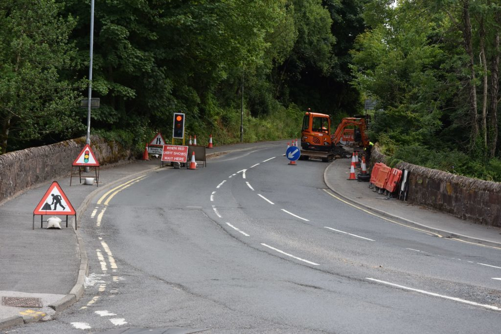 Following a landslide in April a portion of the A841 has had to be reduced to single lane traffic controlled by traffic lights.
