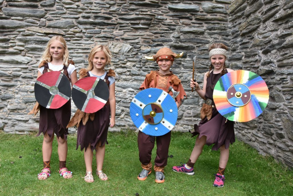 Charlotte and Elise Lambie, along with Cameron and Isla Hutchison, make for some very friendly young Vikings.
