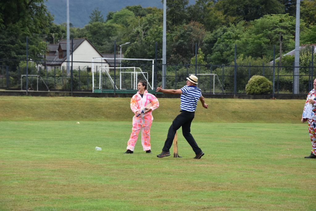 In full swing, a members of team Gondoliers, bowls towards the opposition.