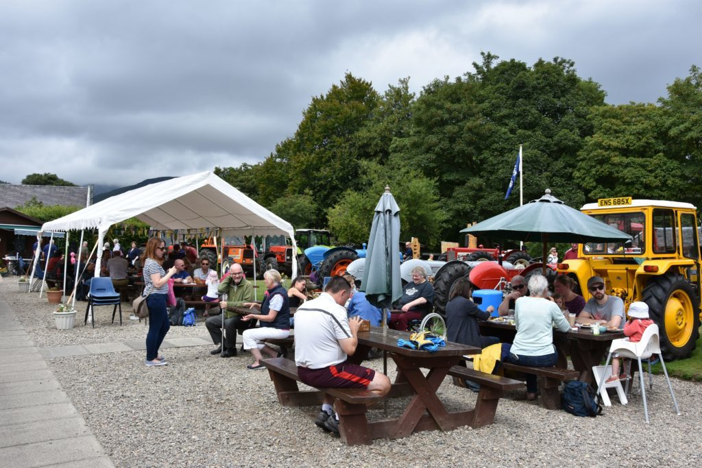 An enjoyable day out, visitors enjoy lunch and snacks from Rosaburn cafe out in the garden.