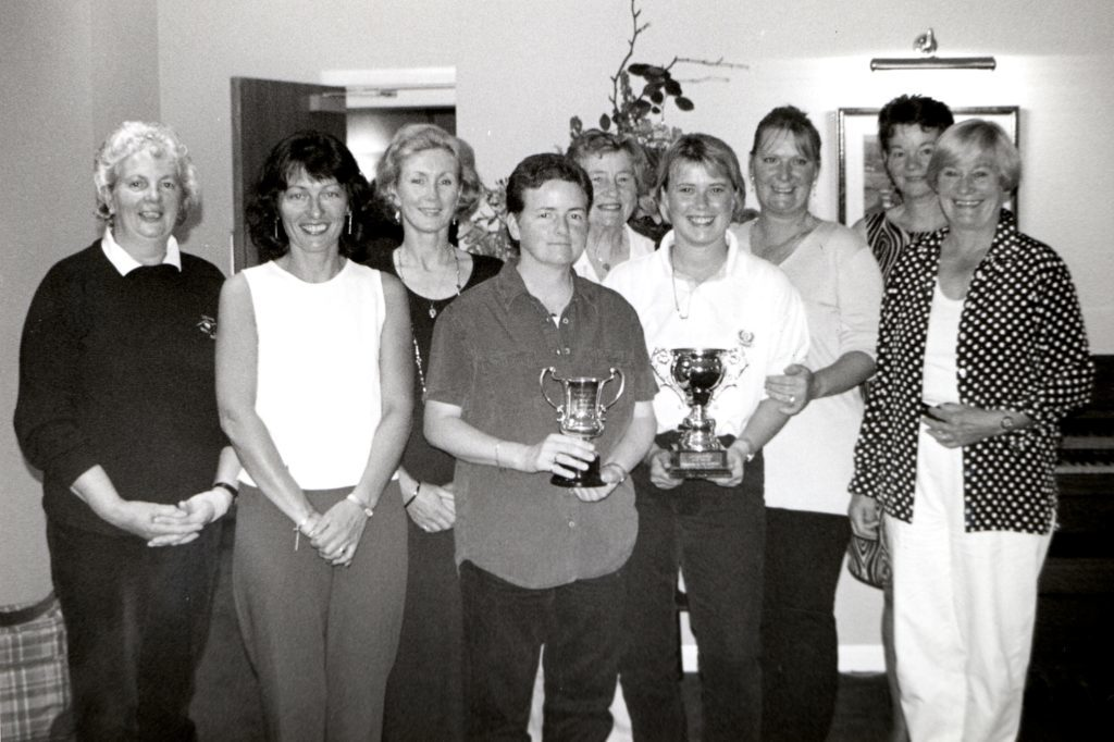 All the trophy winners in the Lamlash Ladies Open which saw 147 ladies playing in the 9th annual event.