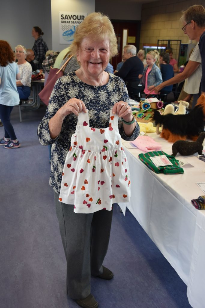 In the handcraft section Elma Stevenson received six first place winners including this baby garment made for her granddaughter.