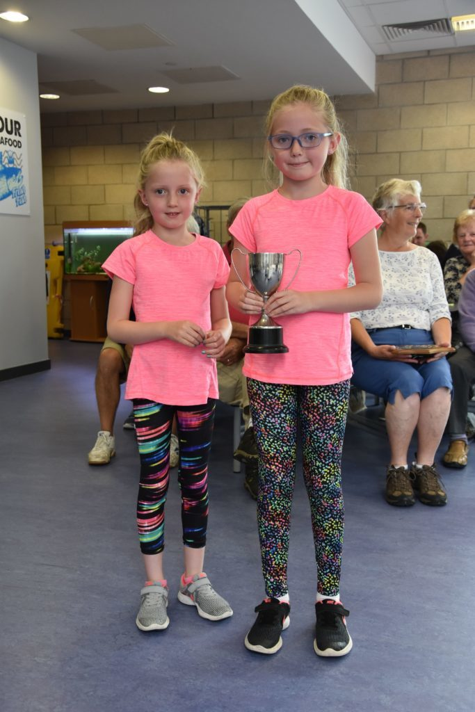 Olivia and Ava McNiece with the MF Murchie Cup for their best miniature garden.