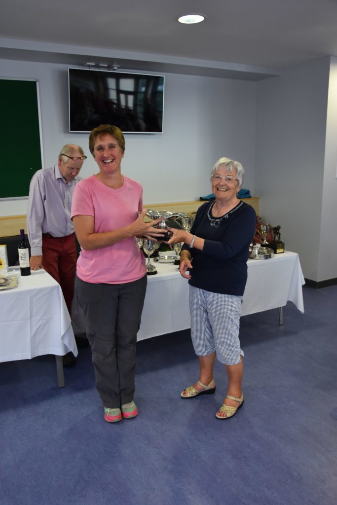 Jo Totty with the Hiles Muir Trophy for her best exhibit of gladioli.