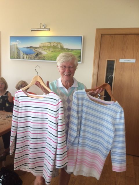 Shiskine Golf Club open competitor, Alison Burnett with her prizes.