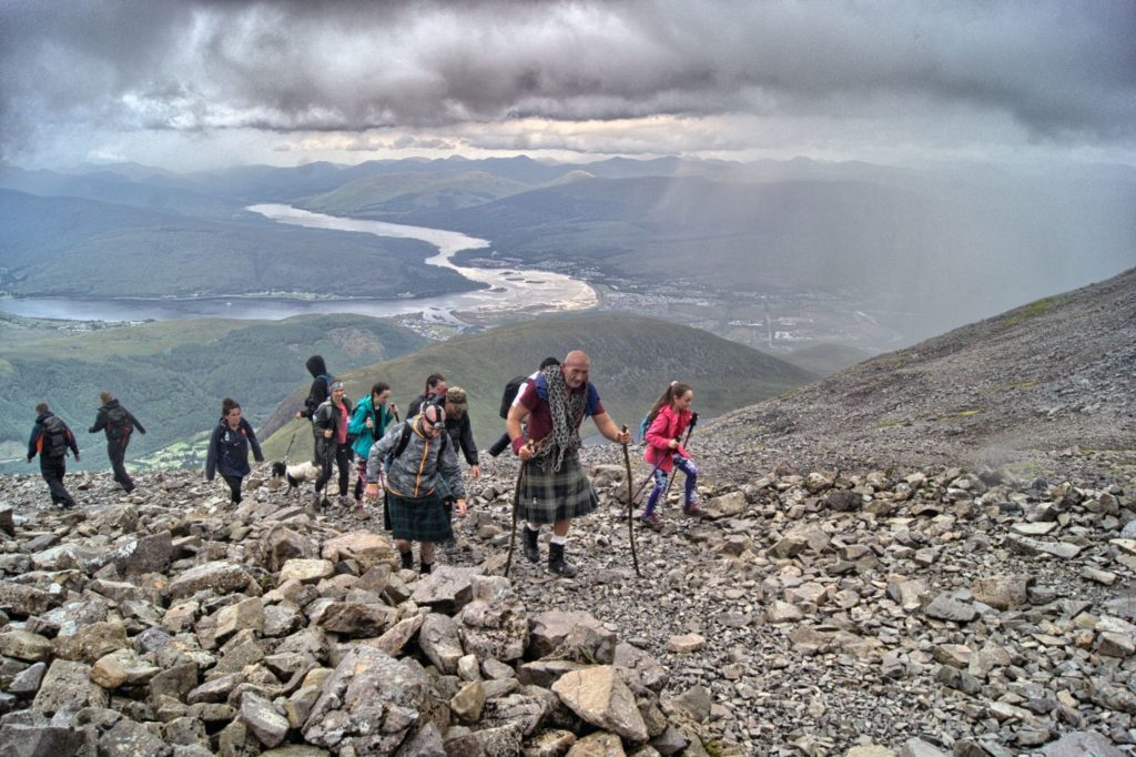 Traversing difficult terrain, Big Davy makes his way up Ben Nevis.
