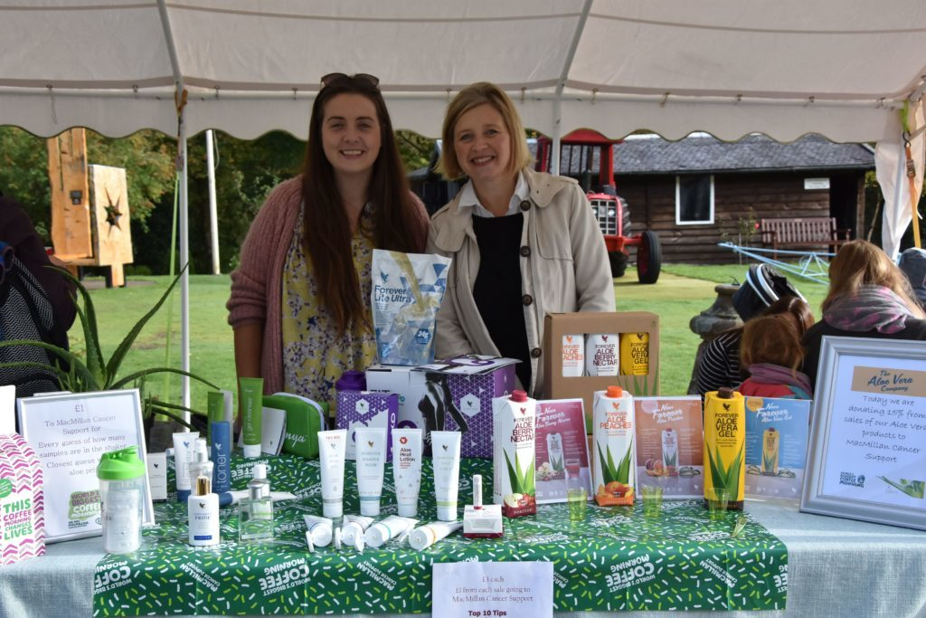 Pam McCrae and Shiona McGarrigle of the Aloe Vera Company donated a percentage of sales to the Cafe Rosaburn Macmillan coffee morning.